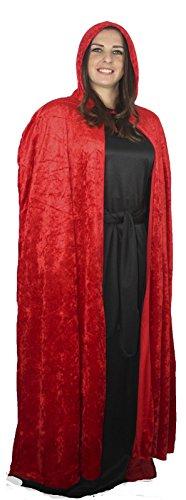 Black Velvet Red Mittelalter Vampir Umhang, Halloween Fancy (Hooded Cape Black Velvet)