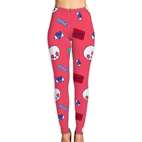 Yogahosen, Trainingsgamaschen,Cute Skull - Red Yoga Pants for Women Sport Tights Workout Running Leggings
