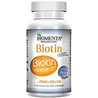 BIOMENTA BIOTIN HOCHDOSIERT 12.500 µg + ZINK + SELEN | 365 Biotin Tabletten VEGAN | Haarwuchsmittel für Bart + Haarwuchs, bei Haarausfall | Anti Pickel Tabletten für unreine Haut | Schöne Nägel