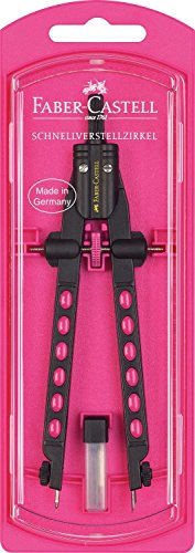Faber-Castell 174335 - Schnellverstellzirkel, Factory Neon (Pink)