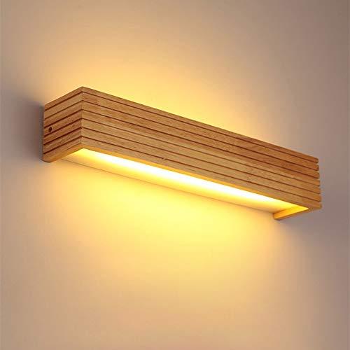 Lámpara de pared LED de madera Luz cálida, Nordic Rayas Lámpara de madera maciza Dormitorio Cabecera...