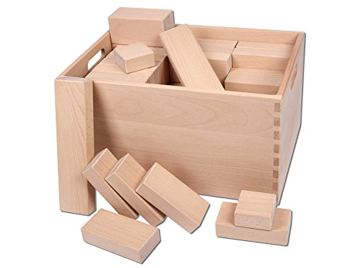CreaBLOCKS Riesenbausteine unbehandelt Set aus 72 Riesenbauklötze Buche naturbelassen XXL Bauklötze in der Buche-Kiste