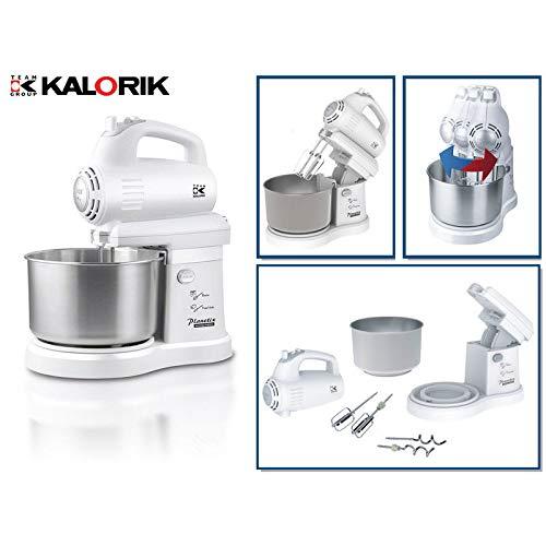 Kalorik 2 in 1 Küchenmaschine und Handmixer mit innovativem links-/rechtsschwenkendem Mixer, 2.8 Liter, weiß