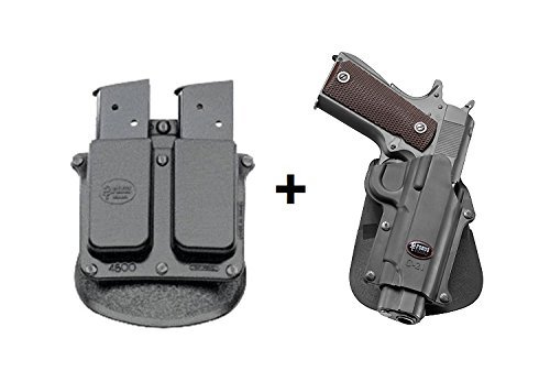 Fobus LINKE HAND verdeckte Trage Sicherungs-Pistolenhalfter Halfter Holster + 4500 Doppel magazintasche für die meisten Colt 1911 Style Pistolen ohne Schiene Pistolen / Browning Hi-Power, Mark III 4 & 5mm / FN High Power, FN Forty-Nine / Kahr MK9 Browning Hi-power (Fobus Schienen)