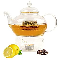 Lantelme Teekanne mit Stövchen Set Glas Tee Kaffee Kanne 1 Liter Glaskanne Filter Deckel 6837