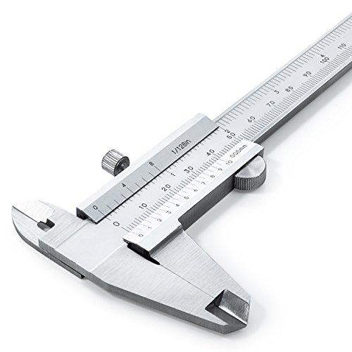 Nonius Messschieber 150 mm aus rostfreiem Edelstahl (gehärtet) - hohe analoge Messgenauigkeit nach DIN862 - erstklassige Qualität mit Tiefen-, Innen-, und Außenmessung - 0,05 mm Ablesung - inkl. Etui