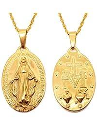 BOBIJOO Jewelry - Petit Pendentif Collier Médaille Vierge Marie Acier Or  Femme Fille Enfant+Chaîne ac4bdf567a9
