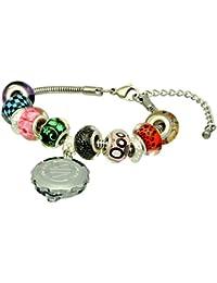 SOS Talisman Pandora Style Bracelet (Emeria) with Chrome Plated Capsule - Sparkle Red