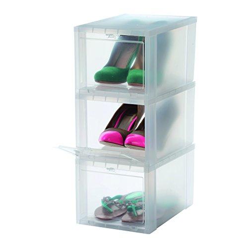 IRIS, 3er-Set Schuhboxen/Aufbewahrungsboxen für Schuhe 'Drop Front Box', EUDF-S, Kunststoff, transparent, 31 x 22 x 18 cm (Kunststoff Boxen Schuh)