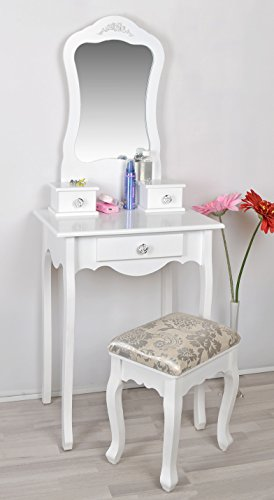 Dressing table / make-up table in white – with mirror and stool