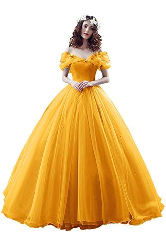 Victory Bridal Wunderschoen Dunkel Gelbes Kurzarm Abendleider Quincenera Ballkleider Lang Promkleider Cinderella -38 Dunkel Gelb (Mit Einem Ball Für Erwachsene Cinderella Kostüm)