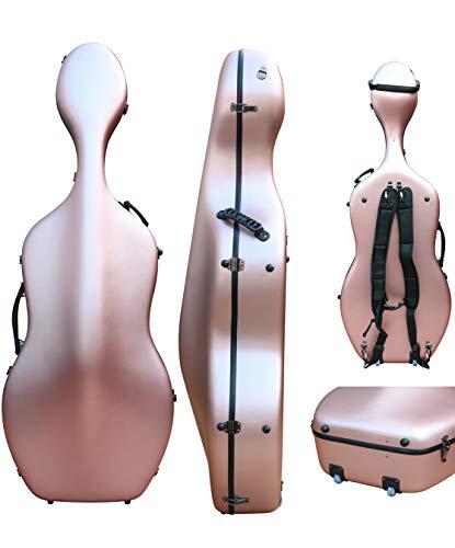 Custodia per violoncello 4/4 in fibra di carbonio mista, custodia rigida, resistente e leggera, 4,5 kg, supporta 300 kg di pressione rose-gold