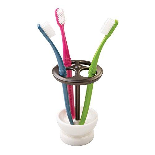 mDesign Zahnputzbecher Keramik - eleganter Zahnbürstenhalter für 4 Zahnbürsten oder Kosmetikaufbewahrung z. B. Make-Up-Pinsel und Eyeliner - Design: weiße Reißlackierung - Bronzefarbig (Provinz-creme)