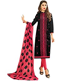 Women'S Black Semi Stitched Embroidered Jacquard Dress Material