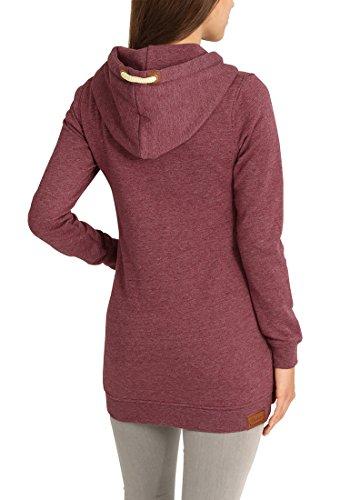 DESIRES Vicky Straight-Zip Damen Lange Sweatjacke Kapuzenjacke Sweatshirtjacke Mit Kapuze Und Fleece-Innenseite, Größe:XS, Farbe:Wine Red Melange (8985) - 4