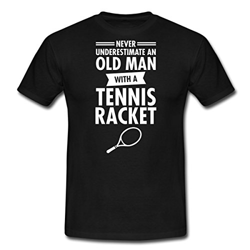 Spreadshirt Never Underestimate an Old Man with A Tennis Racket Funny Quote Men's T-Shirt