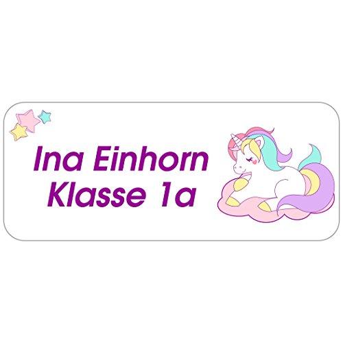 """Kinder-Etiketten - Adress-Aufkleber """"Einhorn - Unicorn"""" mit Ihrem Wunschtext, 160 Stück, ca. 56 x 23 mm, für 1 bis 5 Zeilen Text"""