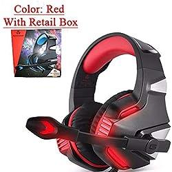 Mueka - Auriculares gaming estereo con micrófono - PS4, Nintendo, Xbox, Wii, PC - Rojo