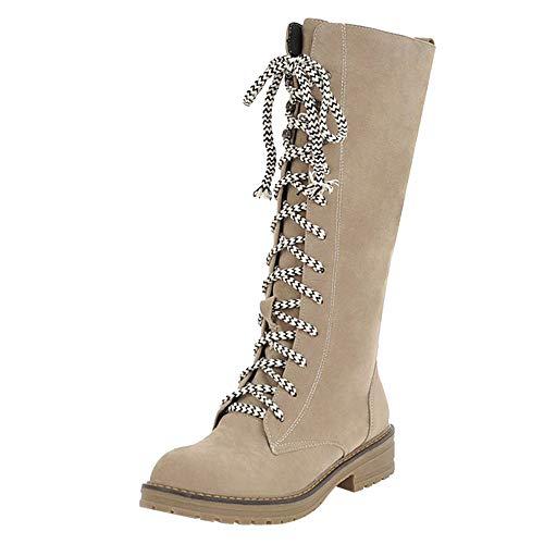 Tatis Shoes Einfarbiger Wildleder Runde Flache Stiefel Frauen Flache Schuhe Middle Tube Flock Lace-Up Martin Stiefel Lace-Up Runde Zehe Boot Lässige Mode