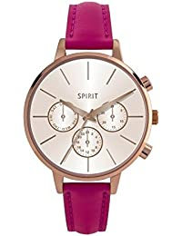 Spirit Ladies Analogue Round Rose Gold Dial With Hot Pink Pu Strap ASPL88