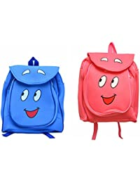 Pratham Enterprises Combo Of Blue Smile Bag And Pink Smile Bags- 35 CM (Pack Of 2 )