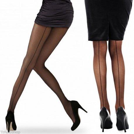 Tradeshoptraesio® - collant donna calze con riga posteriore 20 den in taglia unica stile elegante