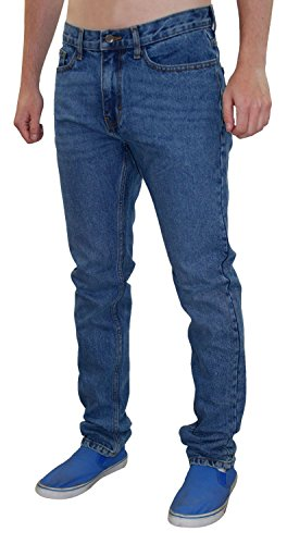 Neue Herren Design Fashion Jeans Denim Regular Slim Fit Zip Fliegen Straight Cut Hosen Mark-Denim Blue