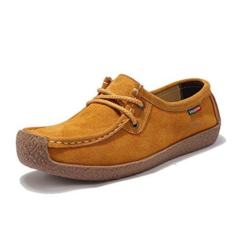 Z.SUO Mujer Mocasines de Cuero Moda Loafers Casual Zapatos de conducción Zapatillas38 EU,Amarillo