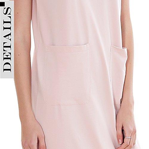 Dolamen Chemises de nuit Femmes, Femmes Ensemble de Pyjama, Chemise de nuit en coton Manches courtes et chemise de nuit longue, col en V avec poches Rose