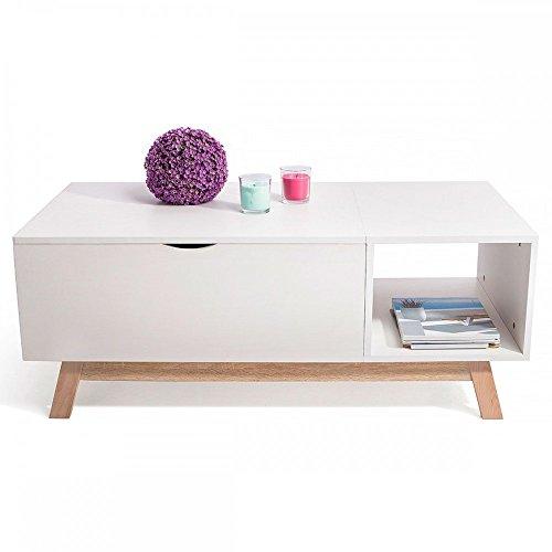 HomeKraft GOSSA Table Basse Style scandinave avec Plateau évolutif Blanc