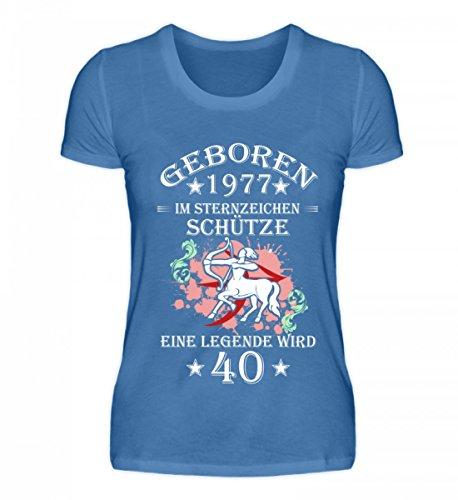 Shirtee Hochwertiges Damen Premiumshirt - Sternzeichen Schütze Wird 40 Türkisblau