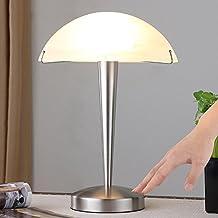 Tischleuchte Viola Nickel Glas Wohnzimmer Tischlampe Schlafzimmer Lampenwelt