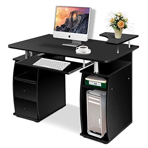 COSTWAY Computertisch Schreibtisch Bürotisch Arbeitstisch PC-Tisch mit Tastaturauszug Druckerablage Schubladen Farbwahl (Schwarz)