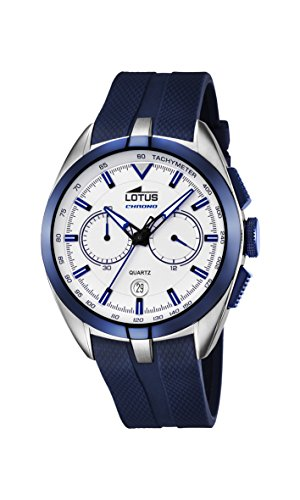 lotus men's quartz watch with white dial chronograph display and blue rubber strap 18189/1