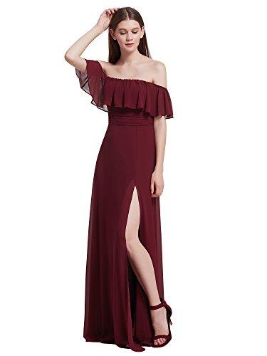 Ever Pretty Damen Elegantes, Off-Schulter Brautjungfer Kleid, 48 Größe - Burgundy (Off-shoulder-kleid)