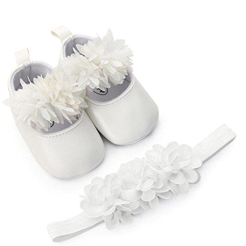 FeiliandaJJ Baby-Mädchen-Schuh-Blumen-Leder-Mode-Kleinkind-Erste Wanderer Scherzt Einzelne Schuhe + 1PC Hairband (6-12 Monate, Weiß) (Baby-mädchen Neugeborenen-nike Schuhe)