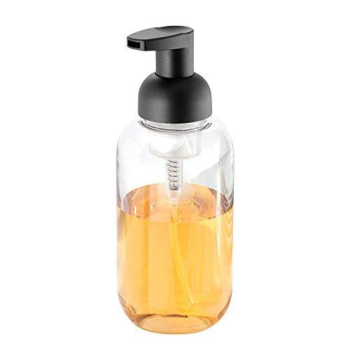 InterDesign Duo Dosificador de Espuma para el baño, dispensador de jabón de plástico, Transparente/Negro Mate