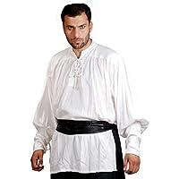 ThePirateDressing Pirate Medieval Renaissance John Coxon Shirt Costume C1004 [White] [X-Large]