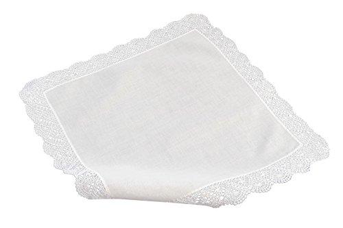 Damen Taschentücher Baumwolle Weiße (Häkeltaschentuch, handgearbeitet und handrolliert mit breitem weissen Rand)