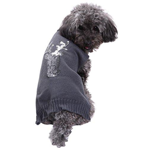 LvRao Niedlich Weich Weihnachten Halloween Gedruckt Haustier Welpe Hund Sweater Jumper Mantel (Grau Rentier, 2XS) - Sweatshirt Jumper Hunter