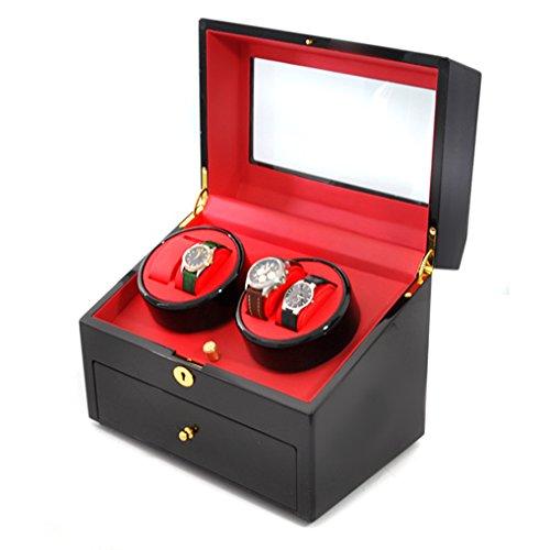 Klarstein Old Marshall Uhrenbeweger Uhrendreher Uhrenbox (für 10 Automatikuhren, mehrere Bewegungs-Modi, abschließbare Schublade, leise) schwarz-rot