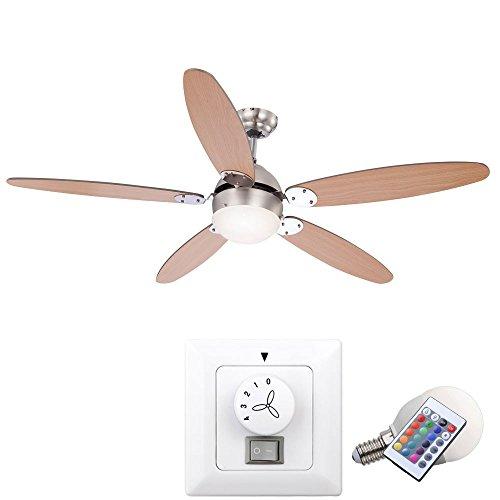 Dimmable Ventilateur de Plafond lumières de Couleur Lampe radiateur avec Interrupteur Mural dans Le Jeu et RGB LED Lamp