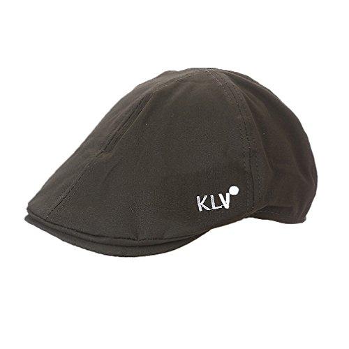 ACVIP Mode Béret Casquette Plate en Toile, Chapeau de Voyage Bonnet Visière pour Homme Femme Vert armé