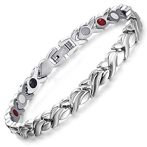 Magnetarmband für Damen, negatives Ionen-Armband, Balance, Gesundheit, Armband, Magnettherapie, heilende Energie, Armband für Damen, alle Größen, SB4, edelstahl, silber, 18.5 cm / 7.3 in