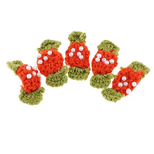 IPOTCH 5 STK Häkelblume Blumen Handmade gehäkelter Blume Applikationen- Süßigkeiten Motiv - Orange -