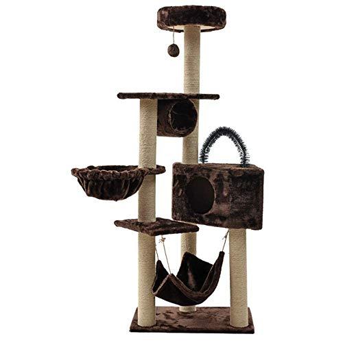 YEXIN Kratzbaum, 160CM Cat Entertainment Center Pet Furniture , Hängematte, Kondominium, Post-Climbing-Tower-Rahmen, Activity Center-Möbel - für Kätzchen (Farbe : Brown) -