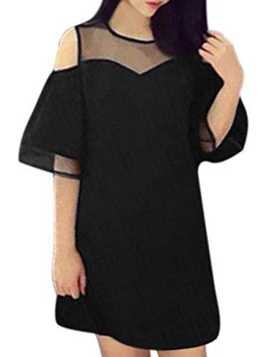 sourcingmap Damen Ausgeschnittene Schulter Organza Einsatz Tunika Kleid Schwarz