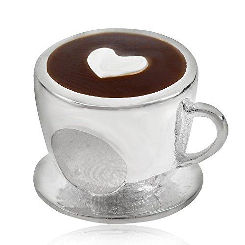 soulbead Love Herz Kaffee Tasse Charm 925Sterling Silber Emaille Perle für europäische Schlange Kette Armband Schmuck