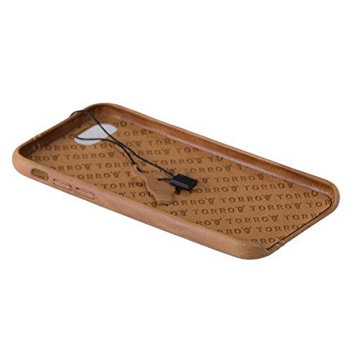 TORRO iPhone 8 / iPhone 7 Hülle, Premium USA Leder, braun, 'back bumper' Hülle, extrem dünn und leicht. Braun