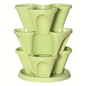 My garden 1001933 pot empilable pot de fleurs avec soucoupe vert sac de culture pour fraisiers